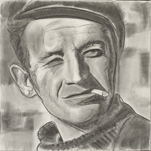 Woody 70 x 70 cm . Coal/Canvas . sold